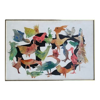 Mid-Century Modern Collage of Birds For Sale