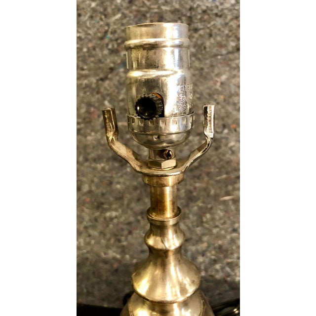 20th Century Traditional Silverplate Lamp on Black Marble Base For Sale In Birmingham - Image 6 of 9