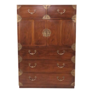 Asian Inspired Campaign Highboy Chest of Drawers, Circa 1970s For Sale