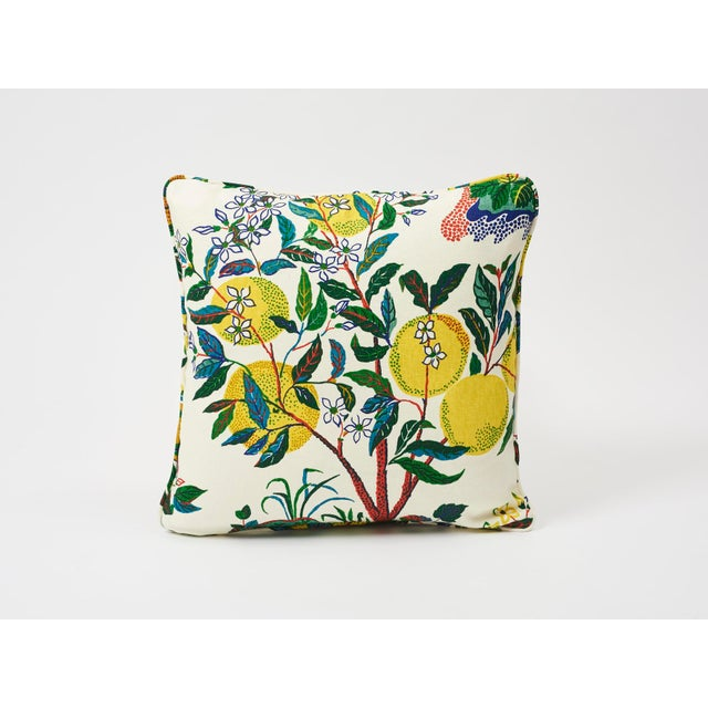 Fabric Schumacher Double-Sided Pillow in Citrus Garden Primary Linen Print For Sale - Image 7 of 8