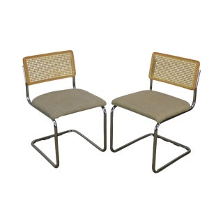 Marcel Breuer Style Mid Century Modern Pair Chrome & Cane Cesca Dining Side Chairs For Sale