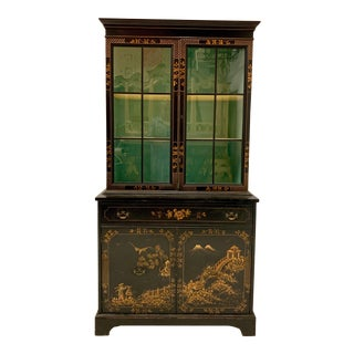 Custom Hand Painted Chinoiserie Cabinet For Sale