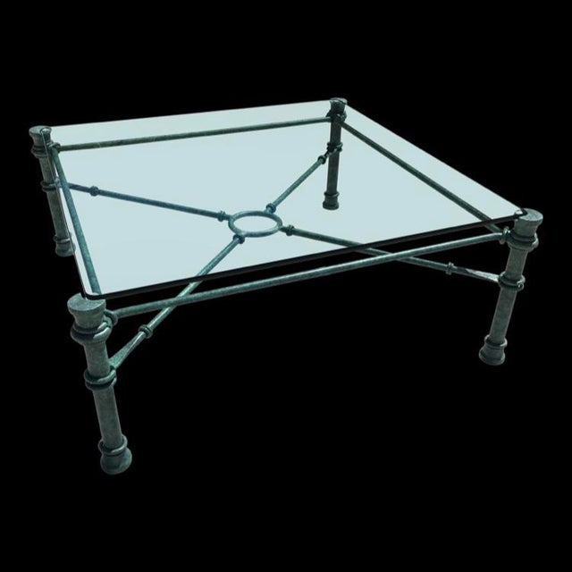 Mid-Century Modern Patinated Bronze Base Heavy Glass Top Coffee Table After Giacometti For Sale - Image 12 of 13