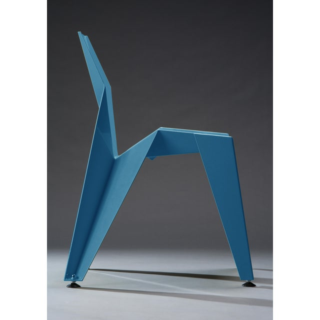 Origami Inspired Edge Blue Chair | Indoor & Outdoor Chair For Sale - Image 4 of 8