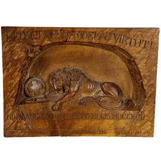 Swiss Lion Of Lucerne Relief Carving Ca. 1900 For Sale