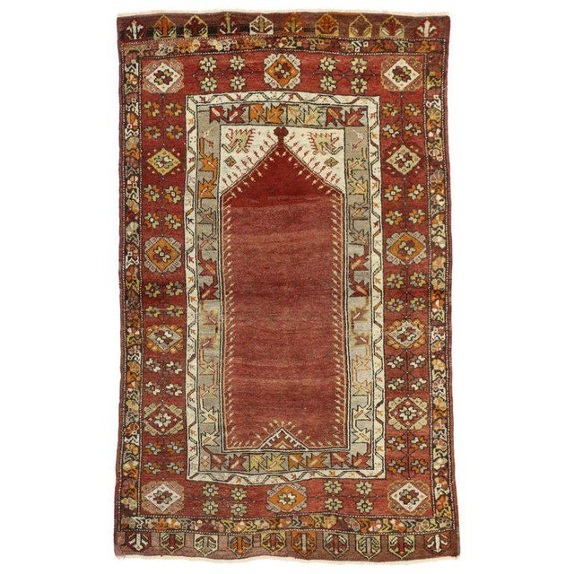 """Mid 20th Century Vintage Turkish Oushak Accent Prayer Rug -3'8"""" X 5'11"""" For Sale - Image 5 of 5"""