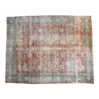 """Vintage Distressed Tabriz Carpet - 10'10"""" X 13'9"""" For Sale"""