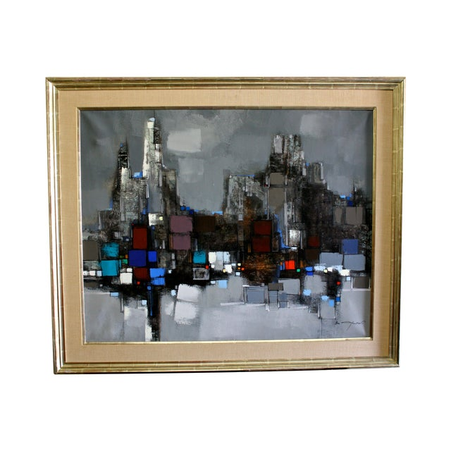 Max Gunther Large Mid-Century Modern Abstract Cityscape Painting For Sale