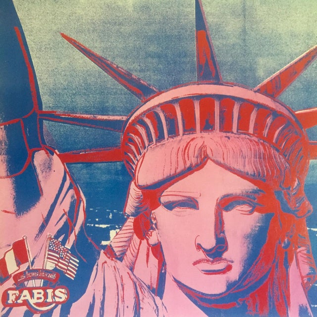 """Andy Warhol Rare 1986 Lithograph Print Paris Exhibition Poster """" 10 Statues of Liberty """" For Sale - Image 9 of 13"""