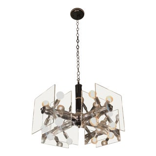 Mid-Century Modern Lucite and Chrome Chandelier For Sale