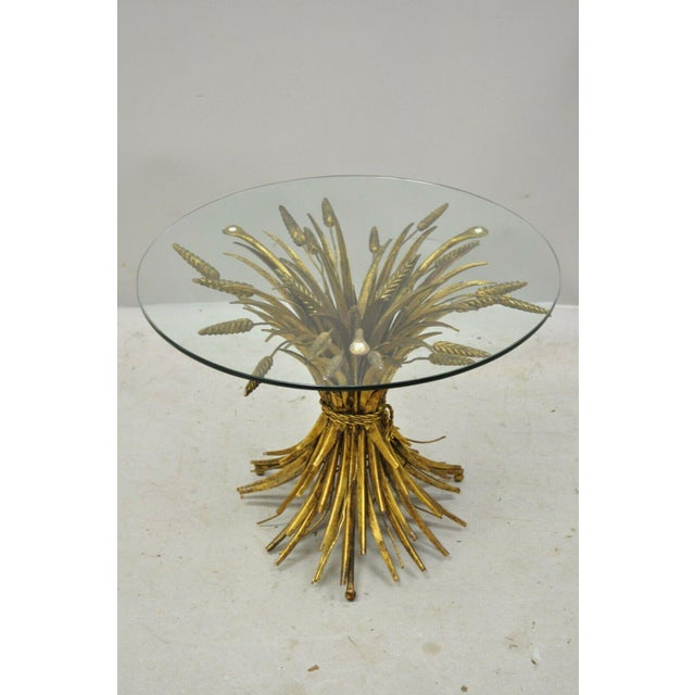 Vintage Italian Hollywood Regency Gold Gilt Iron Metal Wheat Sheaf Small Side Table. Item features iron gold gilt base,...