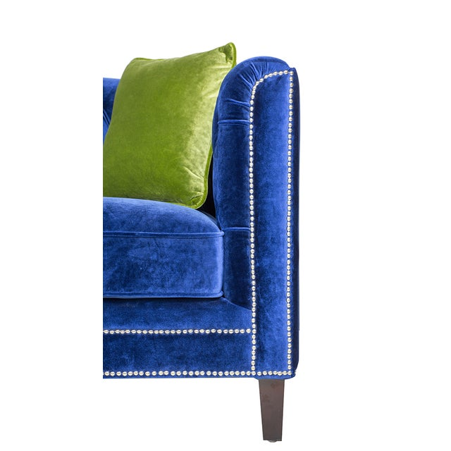 Modern Pasargad Victoria Collecion Royal Blue Velvet Sofa For Sale - Image 3 of 7