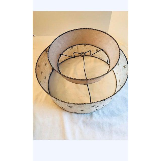 Vintage Mid-Century Modern Starburst Atomic 2 Tier Fiberglass Lamp Shades - a Pair For Sale - Image 4 of 12