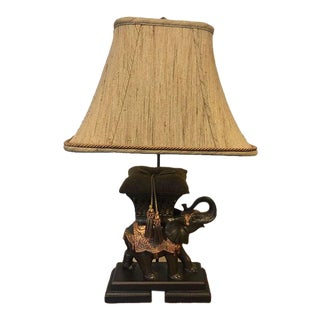 Frederick Cooper Cast Bronze Elephant Pillow Lamp With Shade For Sale
