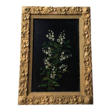 Antique Oil Botanical Painting of Flowering Jasmine For Sale