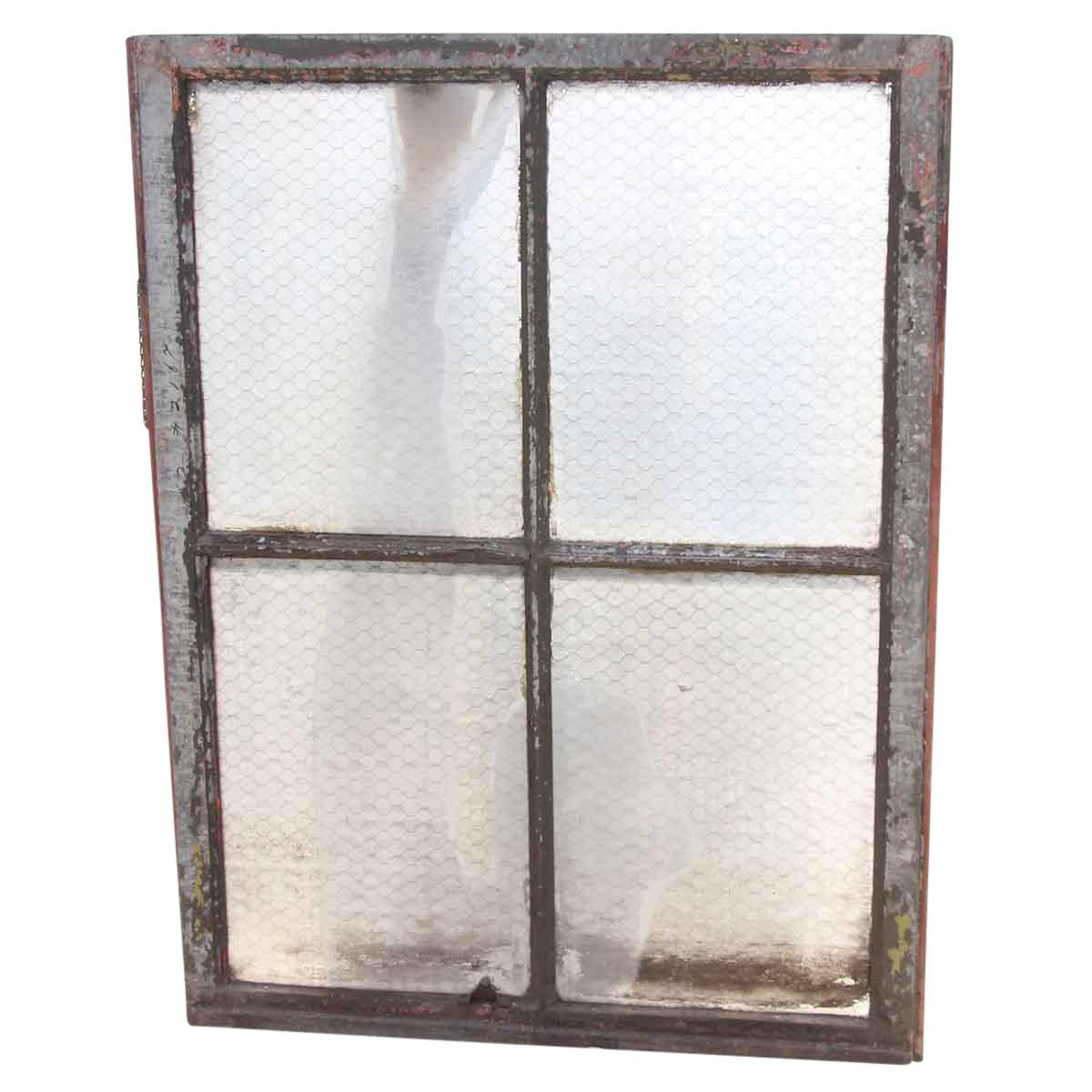 Four Pane Chicken Wire Glass Window With Galvanized Metal Frame ...