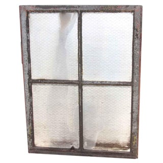 Four Pane Chicken Wire Glass Window With Galvanized Metal Frame For Sale