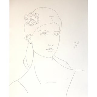 """Sarah Myers """"Head of a Woman in Simple Line"""" Ink Drawing For Sale"""
