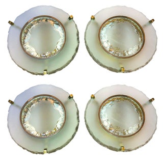 Max Ingrand for Saint Gobain Set of Two Pairs of Etched Glass Round Sconces For Sale