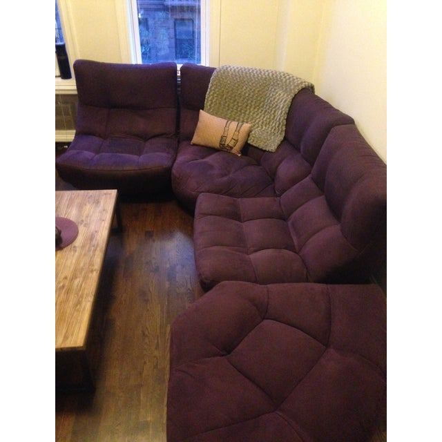 French 4-Piece Curved Sectional Sofa For Sale - Image 3 of 9