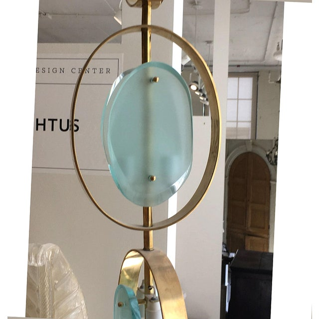 Contemporary Mid-Century Modern Murano Glass & Brass Pendant Chandelier For Sale - Image 3 of 6