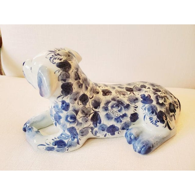 1980s Blue and White Porcelain Dog Sculpture For Sale - Image 5 of 7
