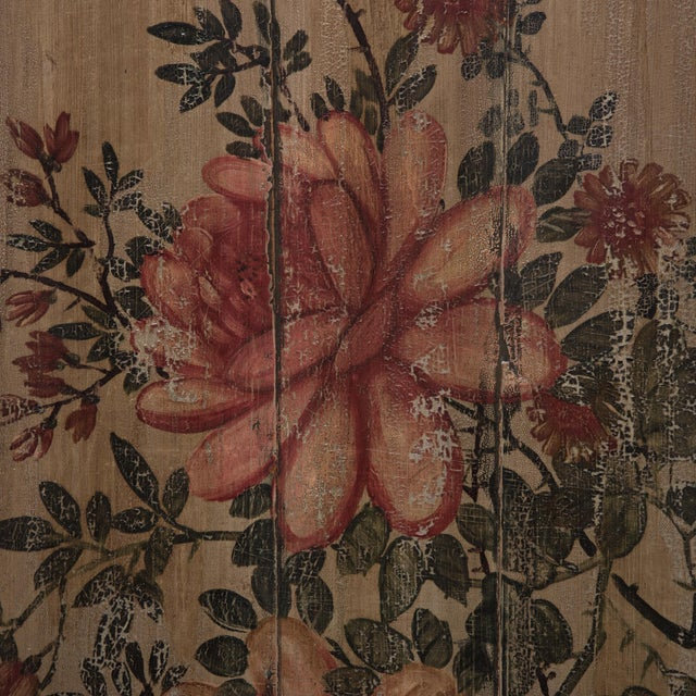 Asian Chinese Painted Floral Longevity Panel For Sale - Image 3 of 5