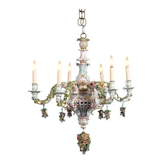 Meissen Porcelain Six-Light Rococo Style Chandelier For Sale