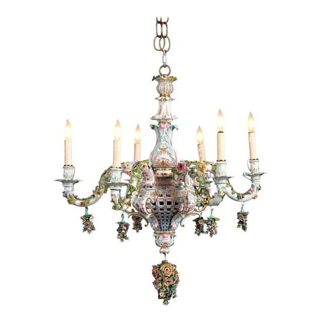 Meissen Porcelain Six-Light Rococo Style Chandelier For Sale
