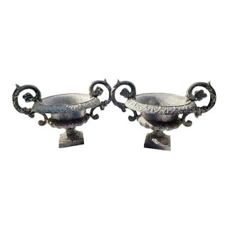 19th Century French Cast Iron Urns - A Pair