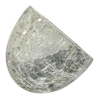 Murano Italian Venician Alfredo Barbini Angled Sculptural Crackled Art Glass Bowl Dome For Sale