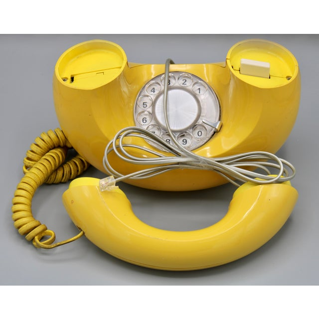 Yellow 1970s Art Deco Lemon Yellow Rotary Telephone For Sale - Image 8 of 13