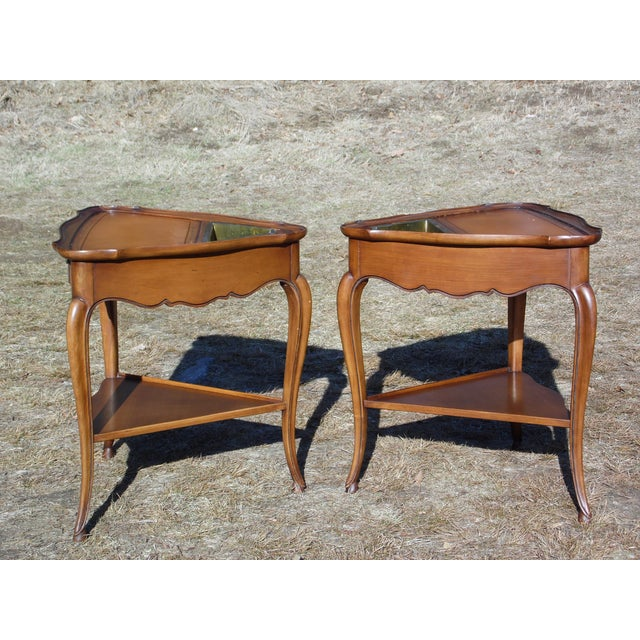 Vintage French Style Leather Top Triangle End Tables - A Pair For Sale - Image 9 of 12