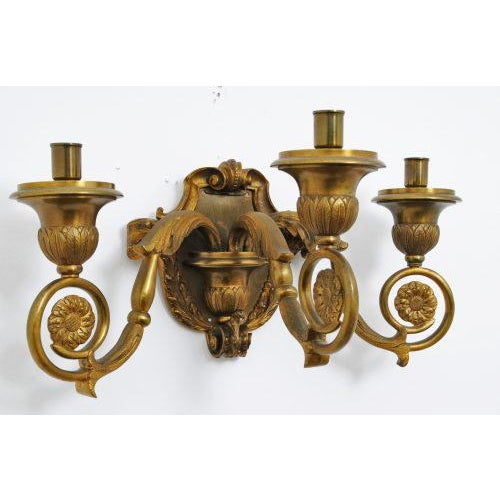 19th Century French Gilt Bronze Sconces - A Pair For Sale - Image 4 of 5