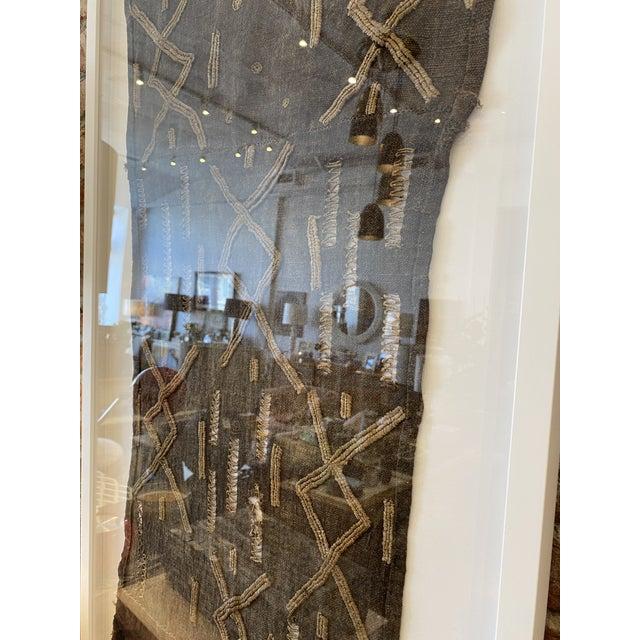 African Mounted Vintage Shoowa Kuba Cloth Panel For Sale - Image 3 of 10
