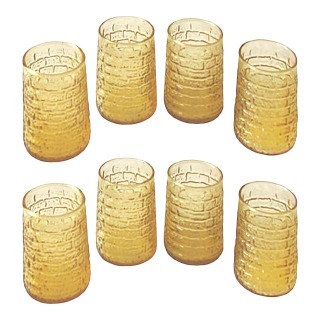 Mid-Century Faux Bamboo Juice Glasses, C.1960, Set of 8 For Sale
