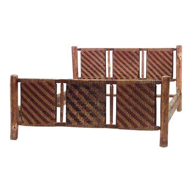 20th C. American Old Hickory Woven Design Bed For Sale