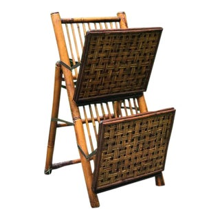 Vintage Bamboo & Rattan Standing Magazine Rack For Sale