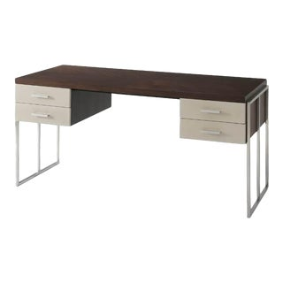 Modern Desk with Polished Nickel Supports For Sale