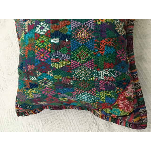 Original Guatemalan Textile Cushion Case in Teal For Sale In Boston - Image 6 of 10