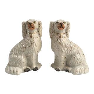 Antique English Staffordshire Spaniels - a Pair