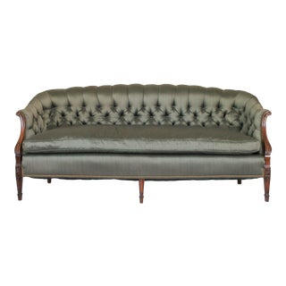 Mid 20th Century Tufted Olive Green Sofa For Sale