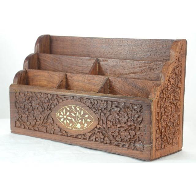 Carved Wood & Bone Letter Holder For Sale - Image 9 of 9