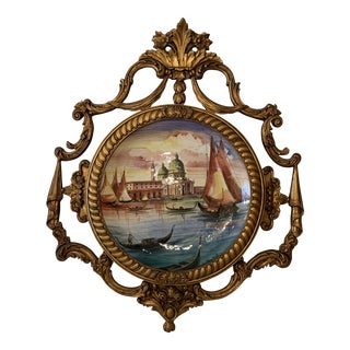1930s Vintage Italian Framed Hand-Painted Porcelain Tondo Painting For Sale
