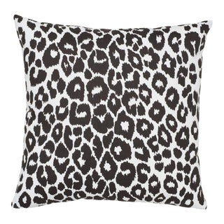 Schumacher Iconic Leopard Indoor/Outdoor Pillow in Graphite For Sale