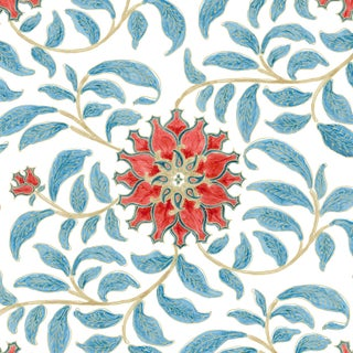 Ferran Ming Rose Fabric, 2 Yards, Red in French Cotton Twill For Sale