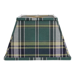 Rectangular Lamp Shade with Vintage Green Plaid Fabric For Sale