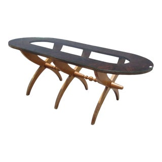 Vintage Mid-Century Glass Top Rosewood Dining Table For Sale