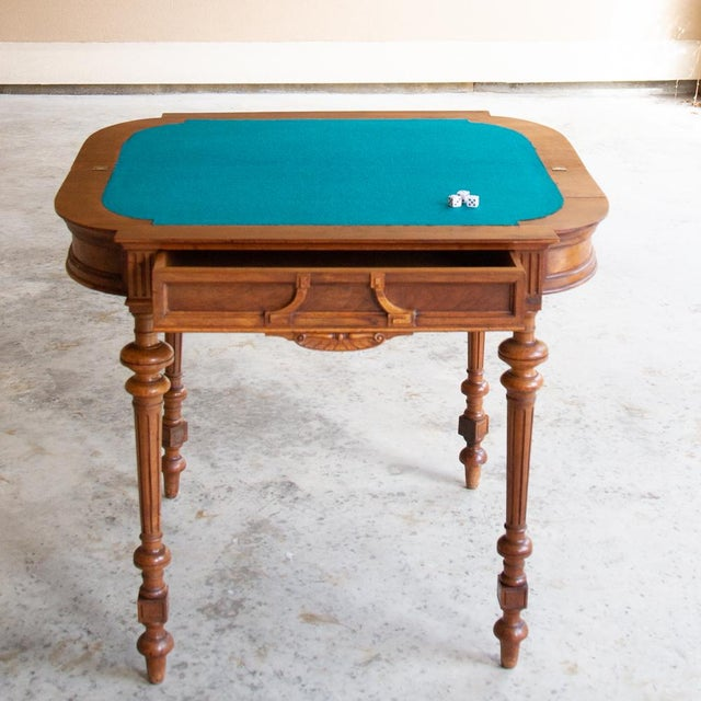 19th Century French Henri II Walnut Game Table ~ Console For Sale - Image 11 of 13