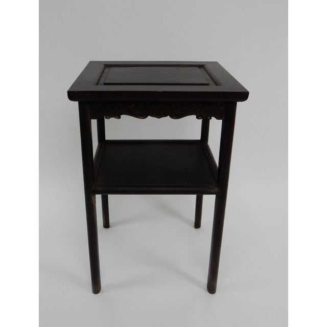 Antique Chinese Zitan Two-Tier Wood Side Table For Sale - Image 9 of 11